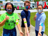 Fab Lab Blood Drive volunteers Claire Wang, Lucas Rodgers and Bari Namgoong